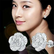 New Women Silver Plated Earings Lovely Flower Ear Stud Earings Fashion Jewelry