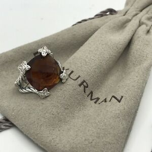 David Yurman Silver Cushion On Point 14mm Citrine & Diamond Ring Sz 7