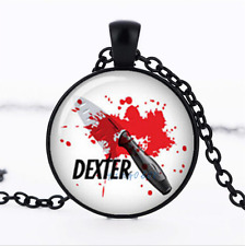 DEXTER MORGAN Black/Bronze/Tibet silver Glass Dome chain Pendant Necklace