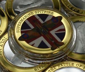 SPITFIRE & THE BATTLE OF BRITAIN Silver & 24ct Gold Commemorative. WW2 RAF