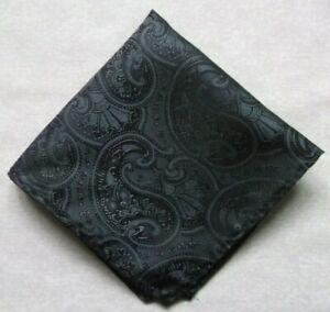 Hankie Pocket Square Handkerchief Hanky MENS Slate Grey PAISLEY