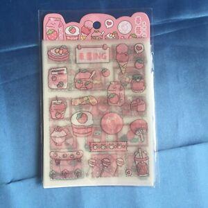 4x Sticker Sheets Cute Strawberry Pink Glitter - Craft Planner Scrapbook Kawaii