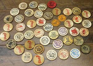 Vintage Wooden Nickel Lot of 44 From 1950's – 1990's Sunbeam Bread – Deadwood SD