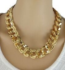 Chunky Link Gold Tone Graduated Circle Chain Necklace 18""