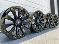 "20"" TESLA MODEL X FACTORY WHEELS OEM RIMS Staggered Gloss Black Original"