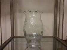 "Vintage Ruffled Top Swirl Pattern Clear Glass Flower Vase 6 1/2"" Tall"