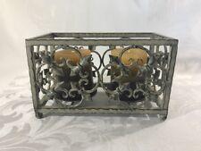 Ornamental Metal Box Pillar Candle Holder Rustic Olive Filigree