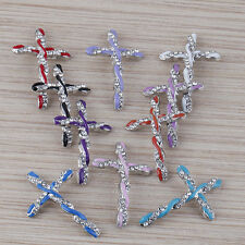 Mixed Enamel Crystals  curved cross charm connector design  10pcs  lot