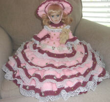 Handmade Crochet Bed Pillow Attached Pajama Bag Porcelain Doll,Limited
