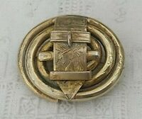 Antique Victorian Pinchbeck Buckle Pin Gold Tone Vintage Etched Floral Brooch