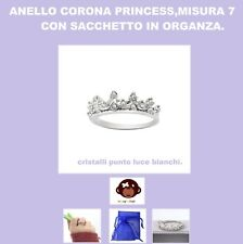 anello corona princess,cristalli bianchi,color argento,boho,chic,+bag,nuovo,swag