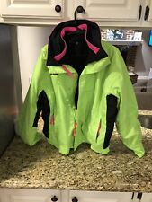 Vintage Mens Columbia Bugaboo 3 In 1 Ski Jacket Large Neon Green Made In USA 90s