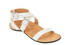 Vionic Orthaheel REST ELNORA Back Strap Leather Sandals WHITE SNAKE 6 W NIB