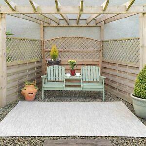 Grey indoor Outdoor Flatweave Rugs Large New Garden Mat Waterproof Runner Rug