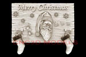 3D Model STL for CNC Router Artcam Aspire Merry Christmas Santa Claus D720
