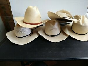 Lot of 5 Cowboy Cowgirl Western Style Straw Hats