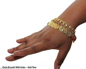 """2 GOLD TONE COIN 8"""" WRIST BRACELETS BRIGHT COINS MADE IN INDIA BELLY DANCE ANKLE"""