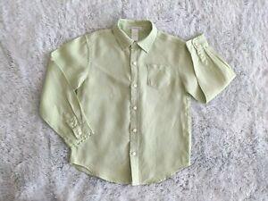 Janie and Jack Boys Size 6 Button Down Shirt 100% Linen Long Roll Tab Sleeve EUC