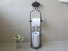 Toilet Roll Holder Free Standing Black Bathroom Shabby Chic Metal Vintage *NEW*