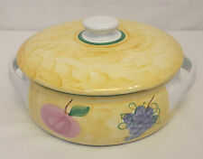 Caleca FRUTTA 1.5 QT ROUND Covered CASSEROLE Serving DISH Hand Painted ITALY