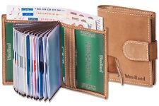 Woodland® Kompakte Geldbörse mit 18 Kartentaschen aus Büffelleder in Hellbraun