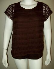 cato woman womens top size 18/20w brown lacy ruffle short sleeve blouse summer