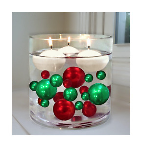 2 Packs Floating Christmas Green & Red Pearls - No Hole Jumbo/Assorted Sizes