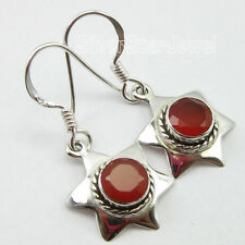 ".925 Sterling Silver Jewelry, FACETTED Red CARNELIAN Gem Earrings 1.2"" ARTISAN"