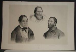 MANGAREVA GAMBIER ISLANDS 1841 DUMONT D'URVILLE ANTIQUE LITHOGRAPHIC PORTRAITS