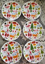 Signature Holiday Icons Appetizer Plates snowman trees reindeer- Set of 6