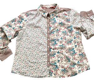 White Stuff Shirt Blouse Beige Sz 18 Cotton Tab Sleeves Contrast Floral Print