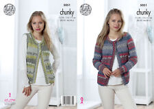 King Cole Ladies Chunky Knitting Pattern Cable Knit Cardigan & Waistcoat 5051
