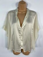WOMENS ZARA IVORY SATIN SHEER BUTTON FRONT SMART CASUAL SHIRT BLOUSE TOP MEDIUM
