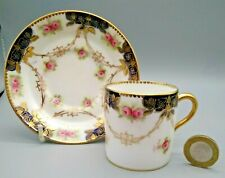 Antique English Porcelain Paragon Demitasse Coffee Cup & Saucer 1910