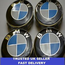 4 x bmw 68mm centre caps alliage moyeu roue badges emblèmes stickers 65mm clips