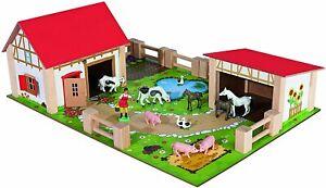 Eichhorn Little Farm 100% Wooden 25-Piece Kids Toddler Children's Toy Play Set