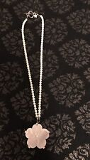 Carved Shell Flower Necklace Faux Pearl Chain Toggle Clasp Pink Floral