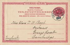 1904 Sweden card from Uppsala to Cambridge England