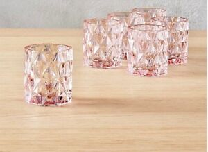 CB2 Pink BETTY Votive Tea LIGHT CANDLE HOLDERS Set of 6