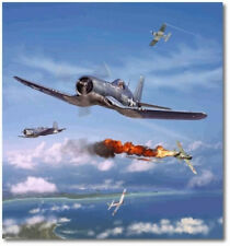Pappy Boyington Over the Solomons by Jim Laurier -  Vought F4U-1A - Aviation Art
