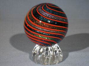 """Marbles: Hand Made Art Glass Alloway Dichroic """"Glitterball"""" #334     2.73inch"""
