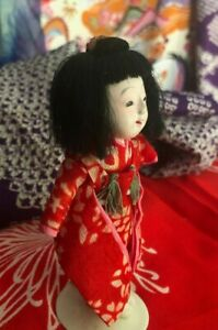 "SWEET 4.75"" ICHIMATSU GIRL DOLL*HAIR w BUN*HI SHEEN GOFUN*SILK KIMONO*TINY TEETH"