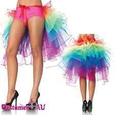 Ladies Rainbow Bustle Petticoat Tutu Skirt Mardi Gras Vegas Burlesque Costume