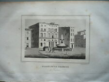GRAVURE ORIGINALE  1860 PLACE DE LA TRINITE A TOULOUSE