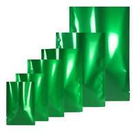 Green/Silver Glossy Open Top Bags Flat Pouch Mylar Type Heat Sealant