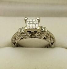 Womens 1.0 Carat Diamond Engagement Ring 14k White Gold