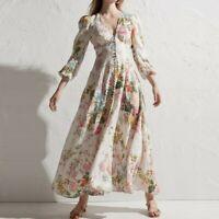 Women Bohemia V-Neck Floral Printed Long Sleeve Dress Retro Cotton Linen Holiday