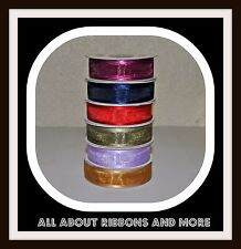 7/8 Inch Organza Ribbon With Satin Edge- 25 Yard Rolls- Great For Weddings