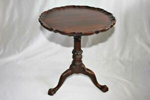 Beautiful Early Mahogany Pie Crust Tilt Top Table Claw Ball Feet Mortise & Tenon