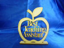10 x Wooden MDF Freestanding Best Teaching Assistant Apples Decoupage Craft Gift